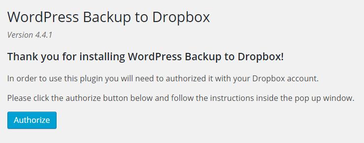 WordPress Backup to Dropbox Plugin